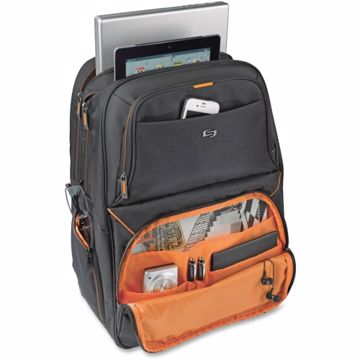 Solo Carrying Case (Backpack) for 17.3 Notebook, Digital Text Reader, iPad - Black, Orange