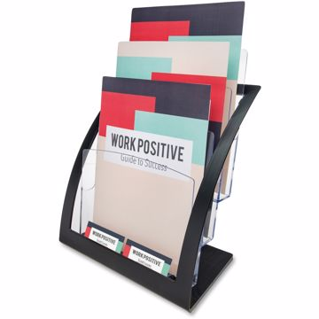 Deflect-o 3-tier Black Literature Holder