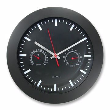 Artistic 12 Rnd Wall Clock w TempHumidity Gauge