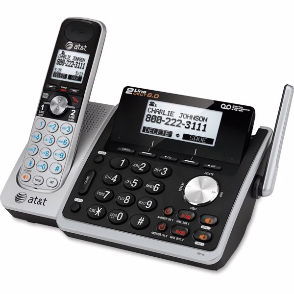7131ffc94 AT T TL88102 DECT 6.0 2-Line Expandable CordedCordless Phone with Answering  System
