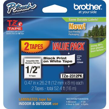 Brother 12 BlackWhite TZe Laminated Tape Value Pack
