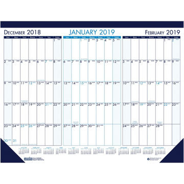 House of Doolittle 3-month View Monthly Desk Pad Calendar