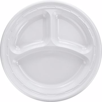 Dart 3-sect Disposable Plastic Dinnerware Plate