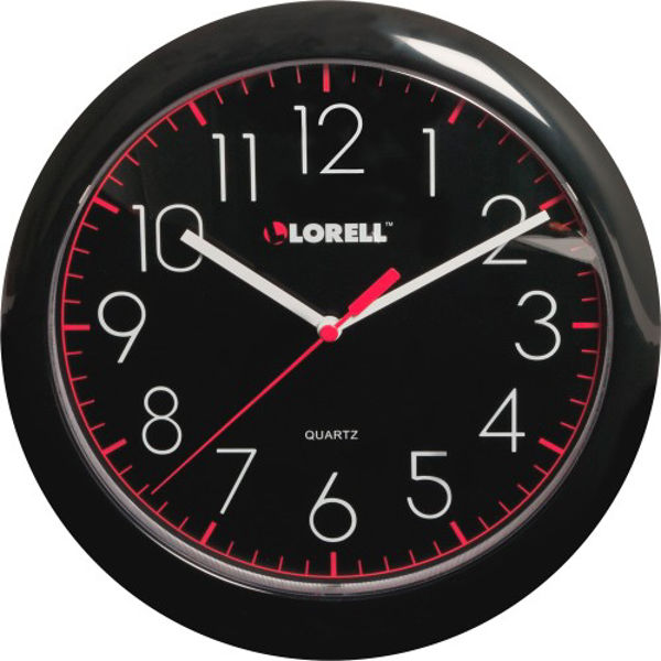 Lorell 10 Quartz Black Face Wall Clock